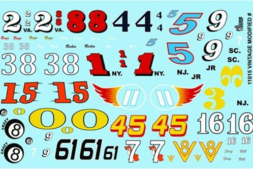 Gofer Racing Vintage Modified Car Numbers