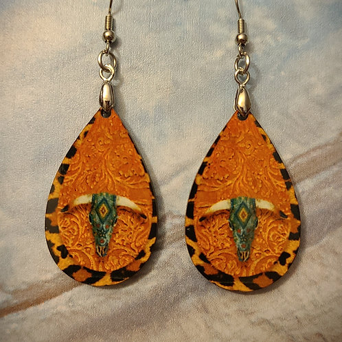 longhorn, leather look earrings