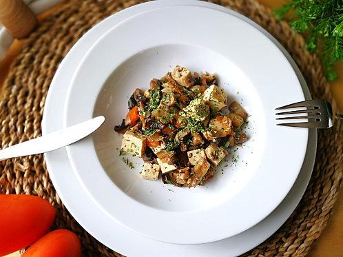 Caril de tofu, cogumelos e legumes