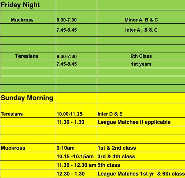 Junior Training Schedule 20/21