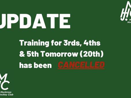 Training Cancelled - 20th Aug