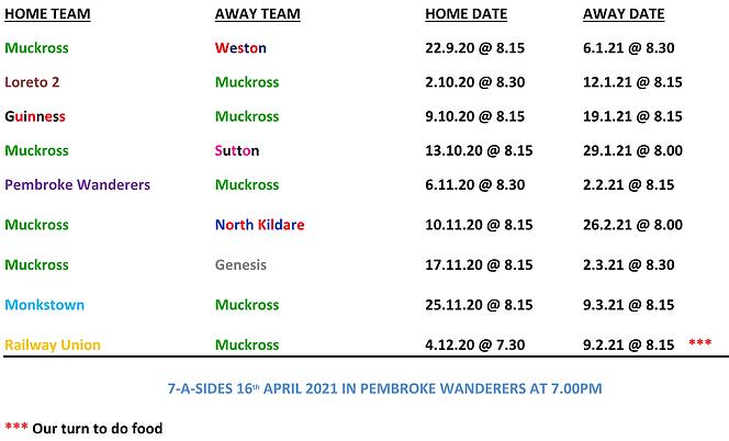 Vets Fixtures 20/21