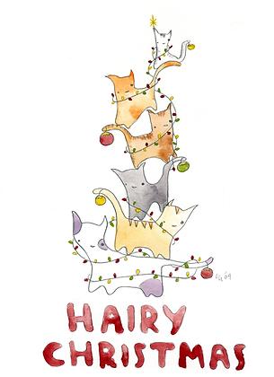 Hairy Christmas Cats