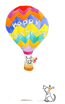 Happy Birthday Dog in Hot Air Balloon