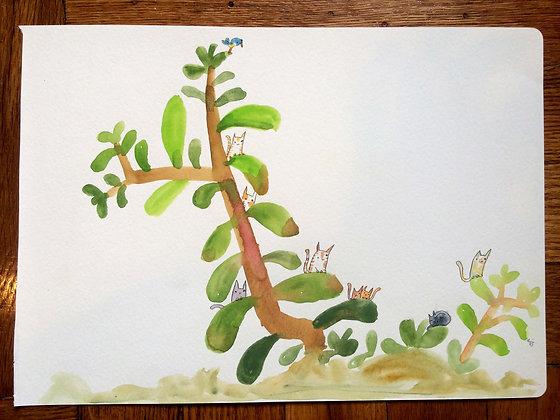 Original!! Cat in Jade plant