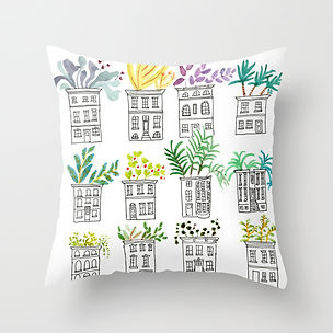 row, House, plants, flowers, planters, green, illstration, painting