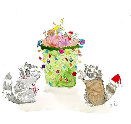 Raccoon Christmas Tree