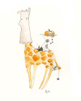 Giraffe and Dog Halloween
