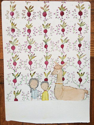 Original!! Kids with Llama and Beet Wallpaper