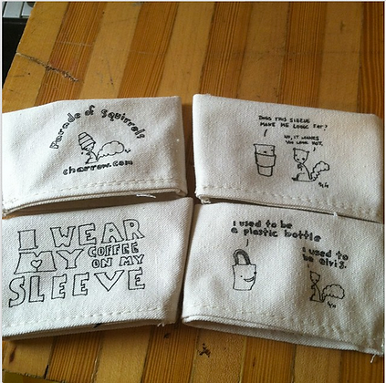 Recycled Cotton Reversible Coffee Sleeves