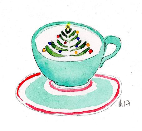 christmas tree latte art