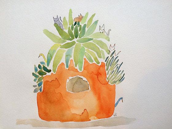 Original!! Cat in Strawberry planter