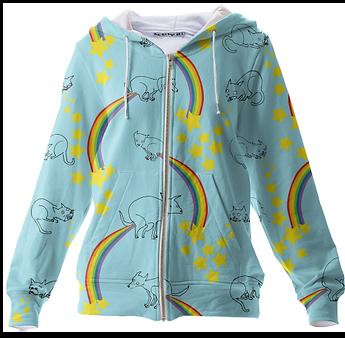 rainbows, poop, cats, dogs, stars, hoodie, textile, joy