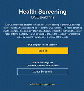 DOE Health Screening Log in Image