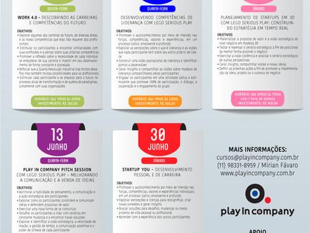PROGRAMAÇÃO WORKSHOPS  DA PLAY IN COMPANY NO PRIMEIRO SEMESTRE