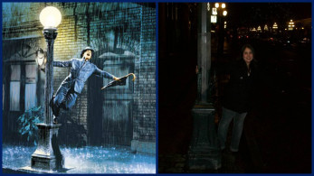 Me on the right striking my Gene Kelly pose while singing and dancing in the Vancouver rain.