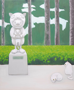 Scenery with my sculpture and cats