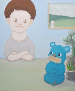 Self-portrait [I think with a blue bear]