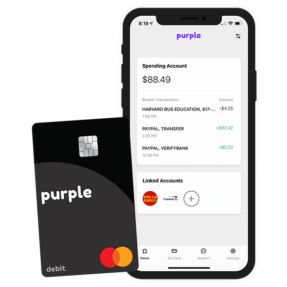Purple banking app and debit card