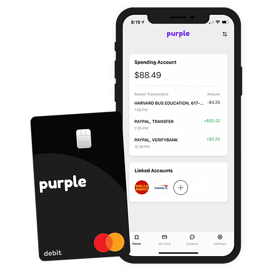 Purple mobile banking app and Purple Mastercard debit card