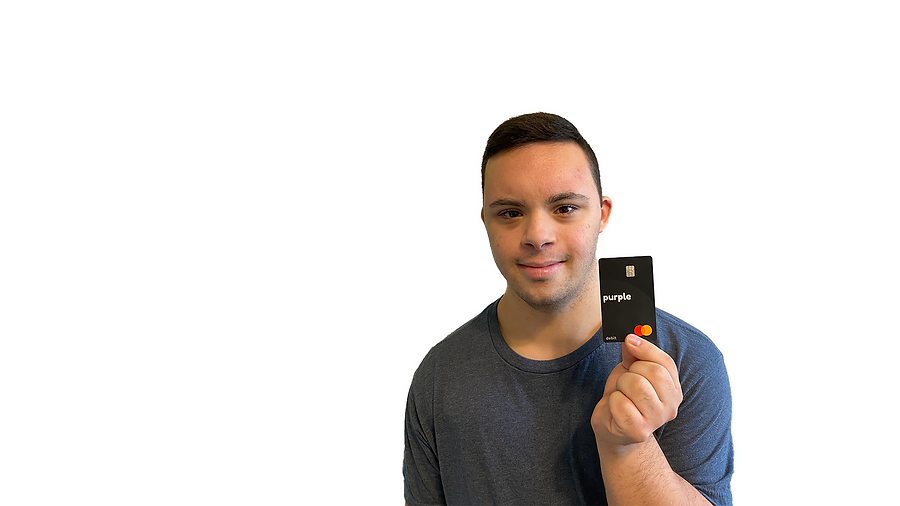 Person with Down syndrome holding a purple debit card