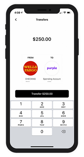 Purple banking app and debit card