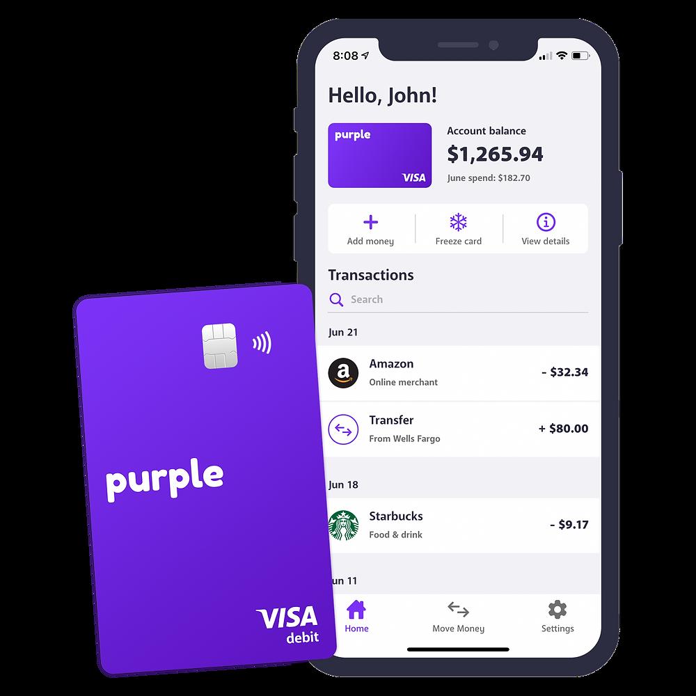 Purple Visa Debit Card and Purple Bank App