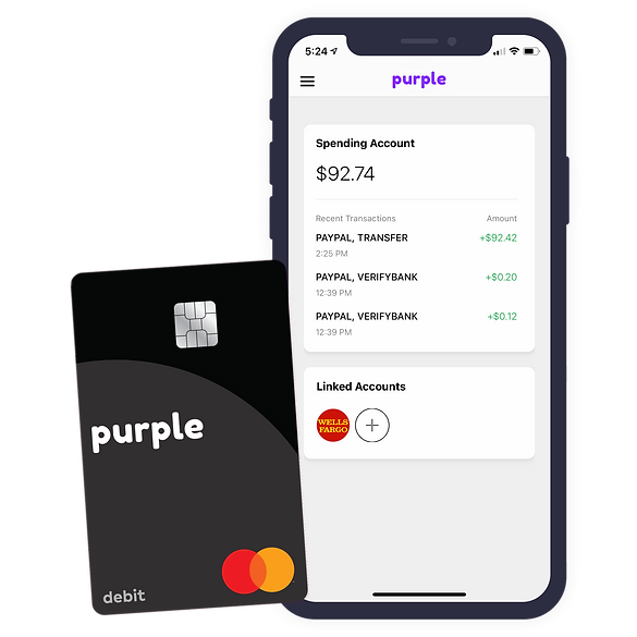 Purple debit card and banking app