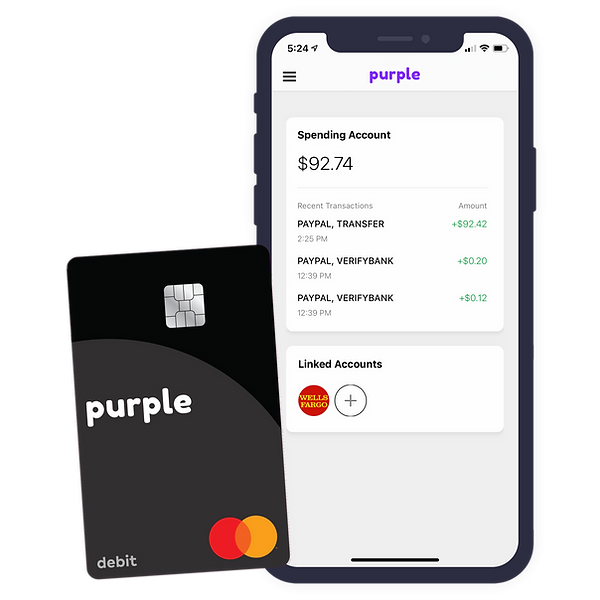 Purple debit csrd and banking app