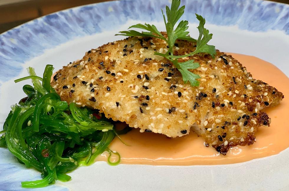 9-1 Garlic & Sesame Crusted Grouper - se