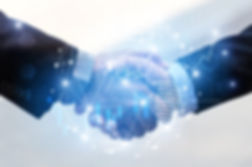 business man handshake with effect globa