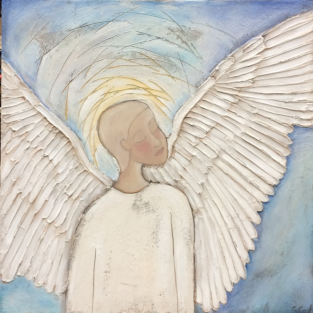 Let Your Light Shine Angel 39x39 acrylic on wood