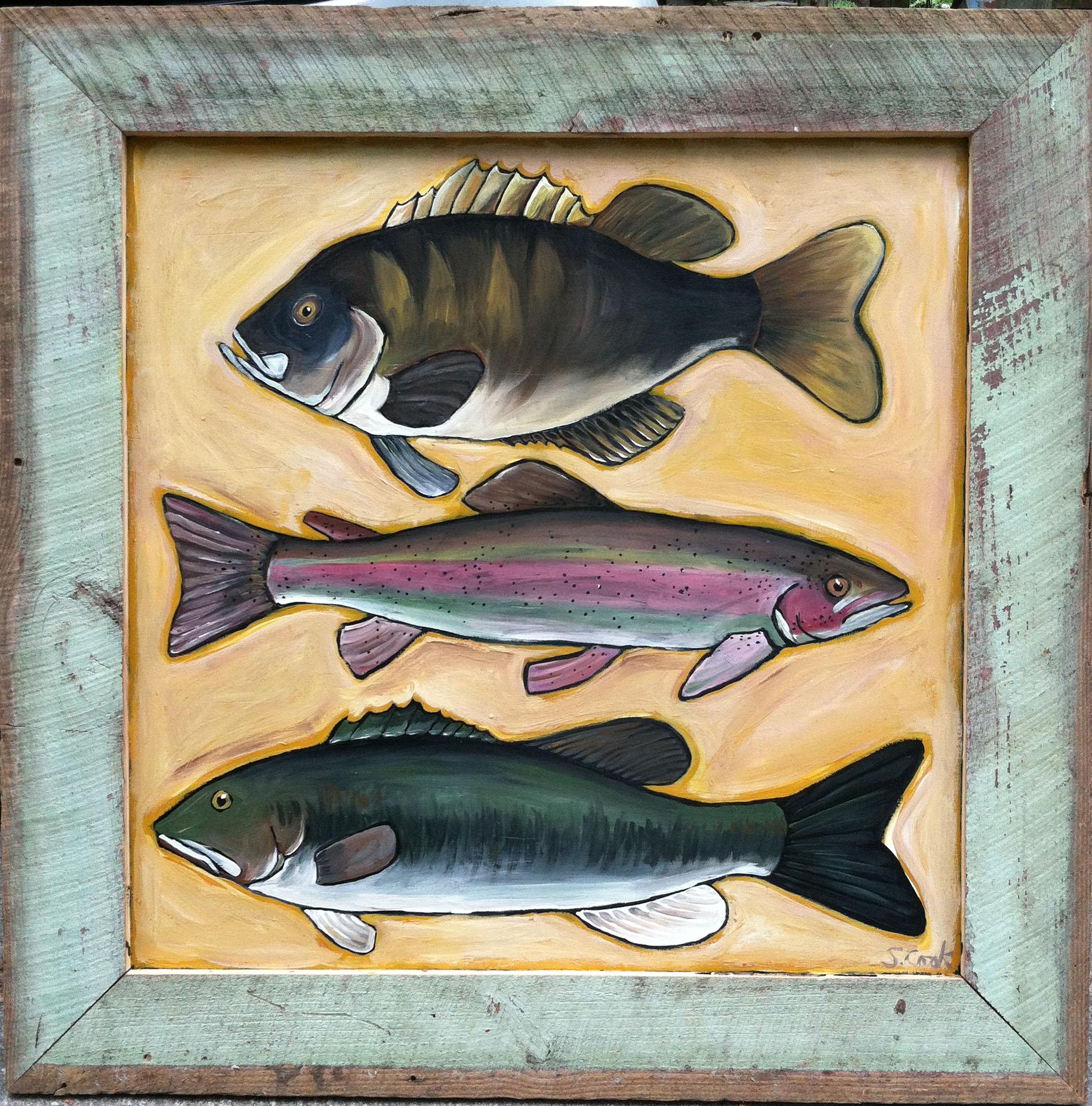 Three Fish on Gold 48x48
