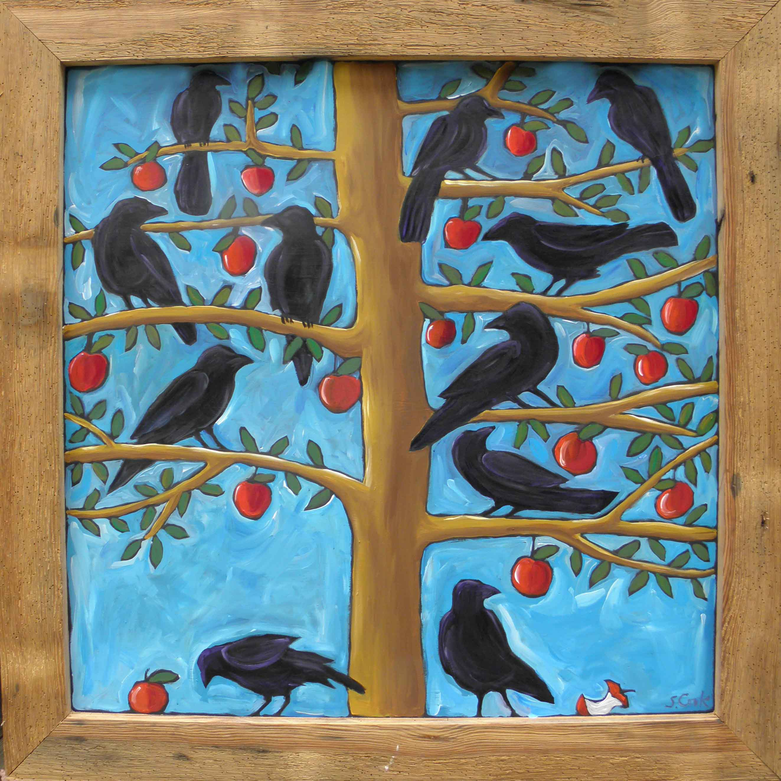 Apple Tree with Crows 48x48