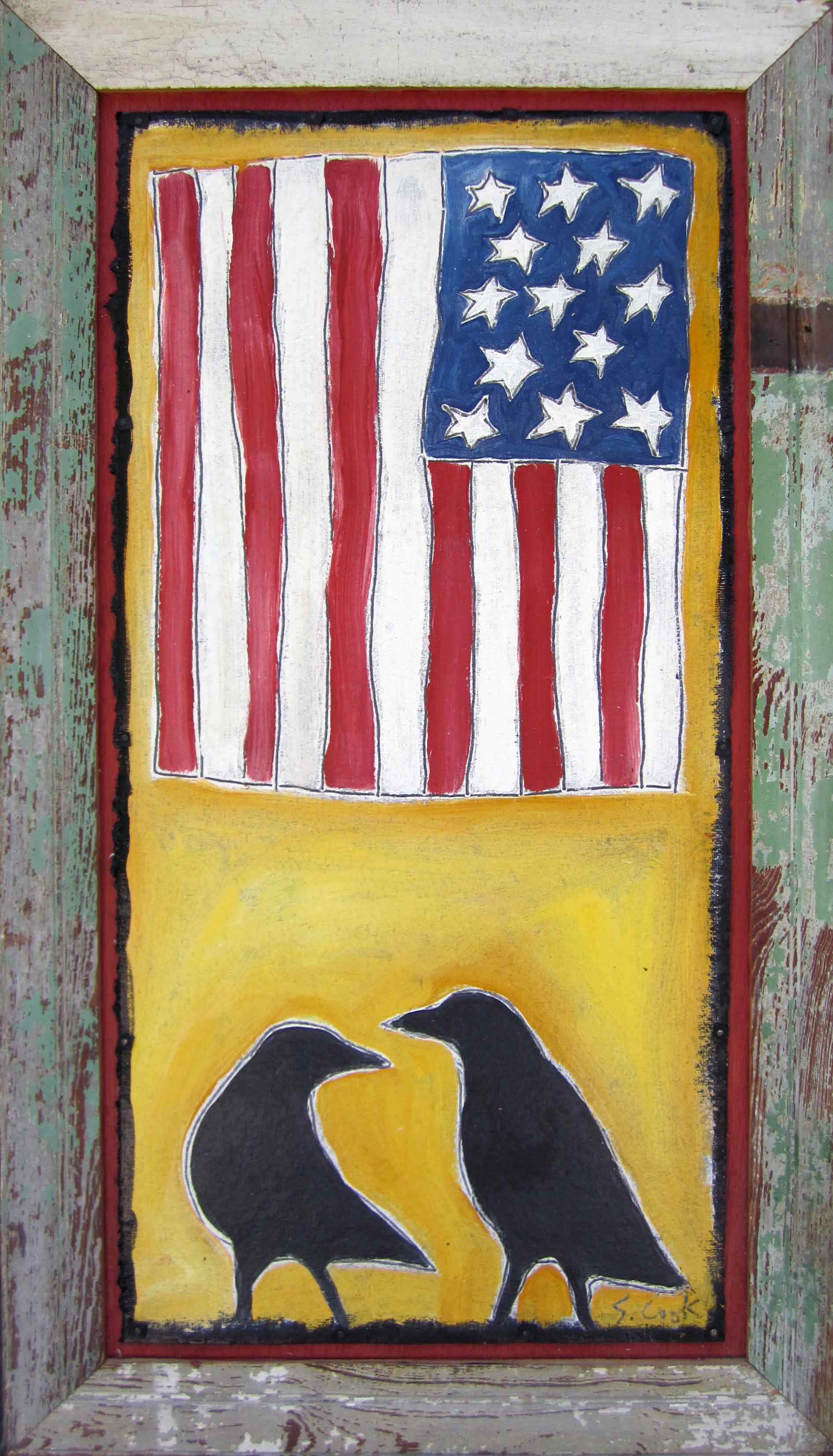 Vertical Flag with 2 Crows 25x44