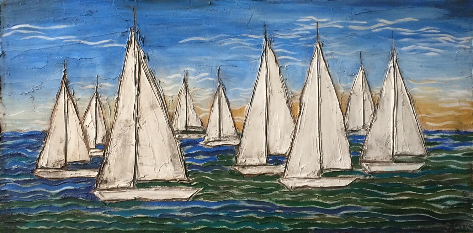 Bay Sail Sunset 48x24