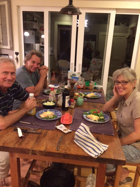 Leslie Wallace Coon, George Coon, Joe Green and I enjoy a wonderful meal after an exhausting day getting ready for the show.