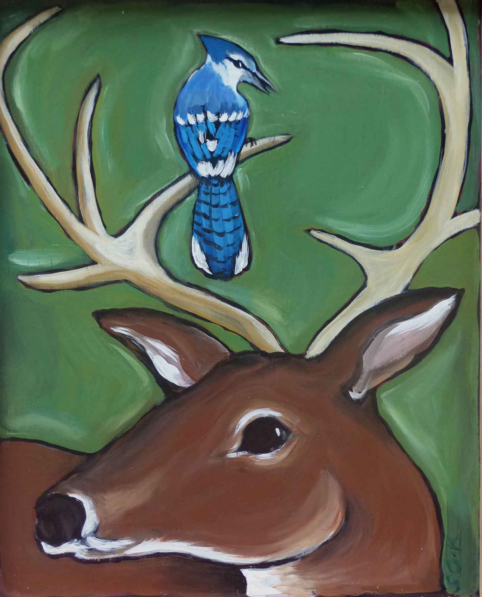 Jay Perched on Deer 18x28 acrylic