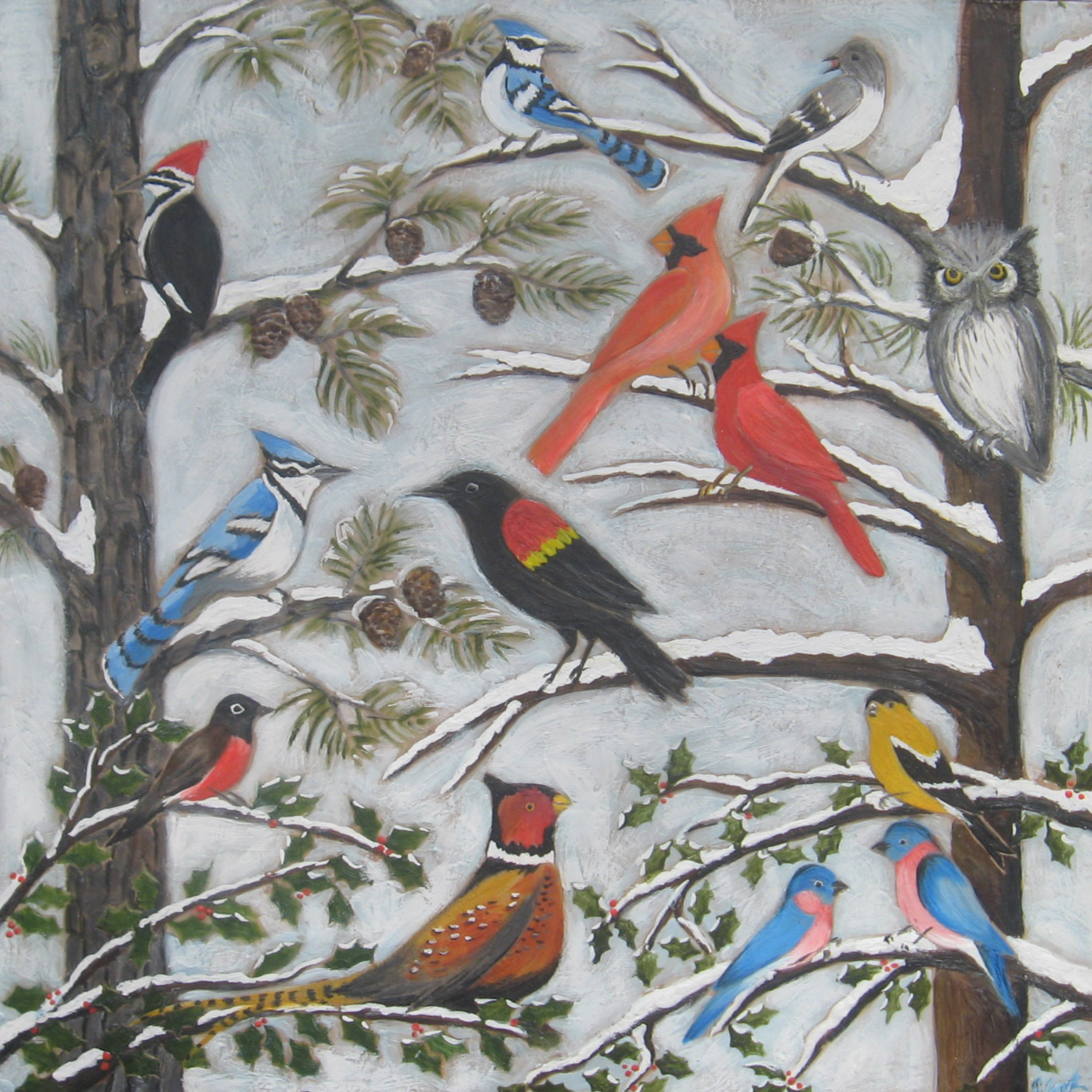 Winter Birds 40x40