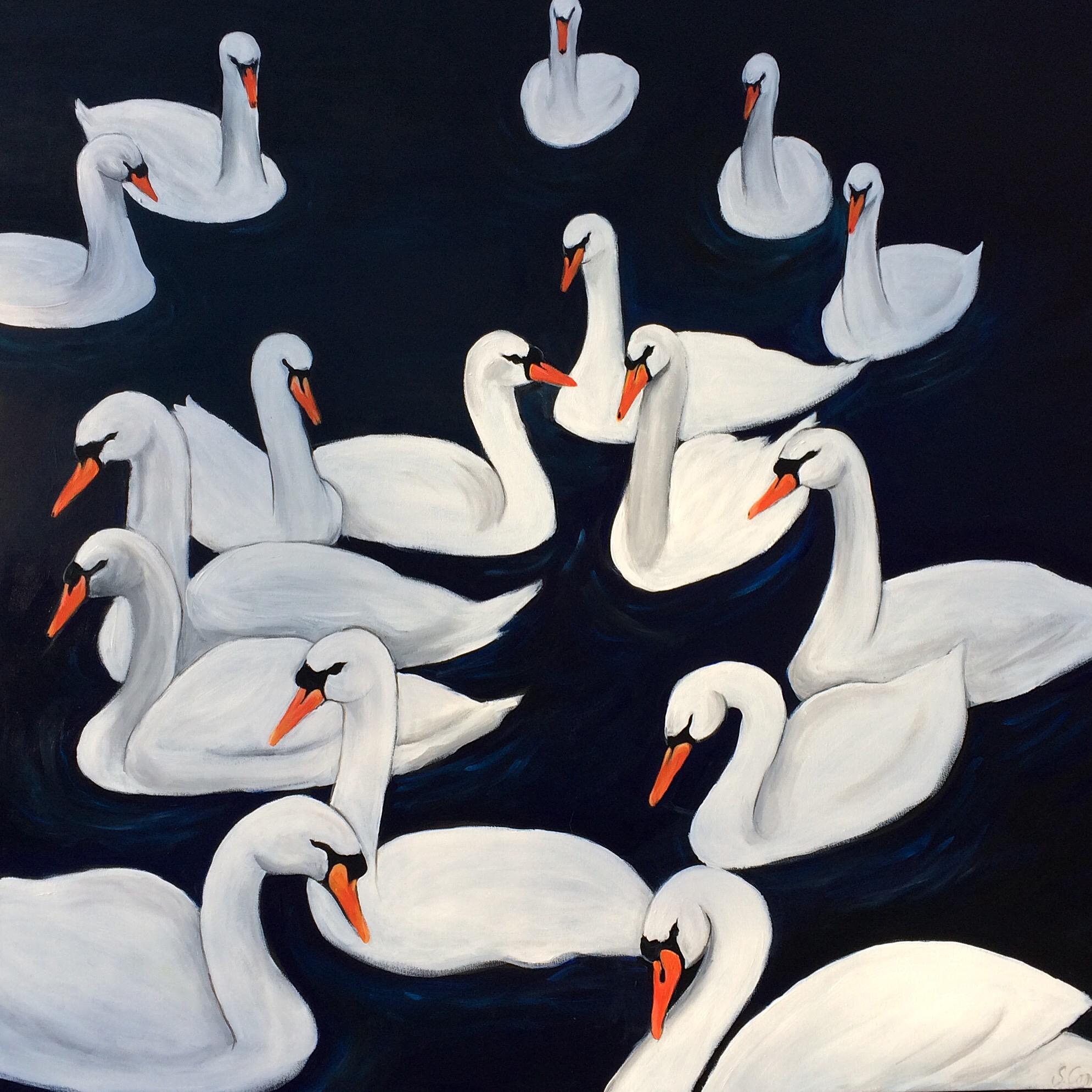 Swans 48x48 acrylic
