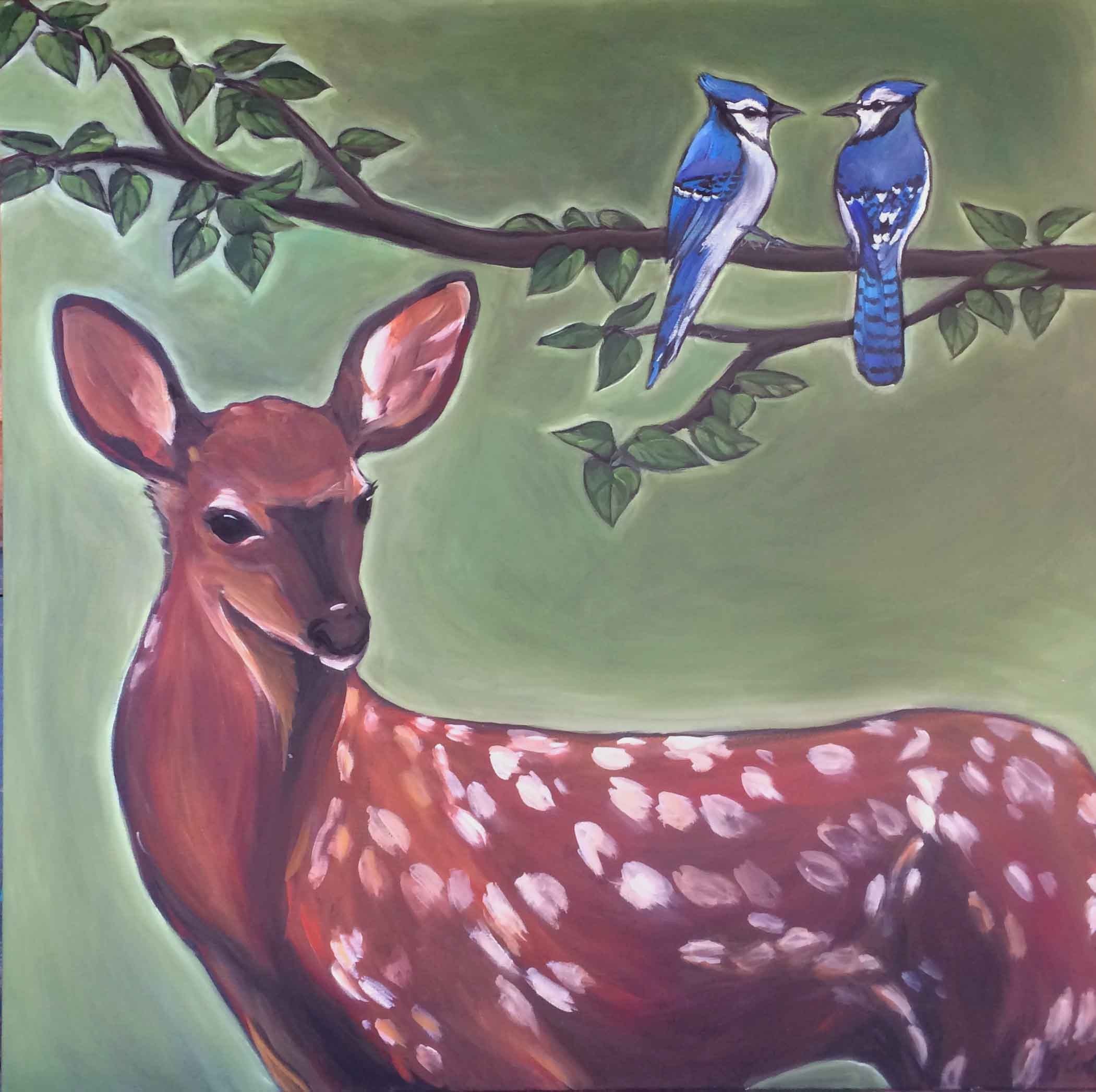 Deer with Jays 36x36 acrylic