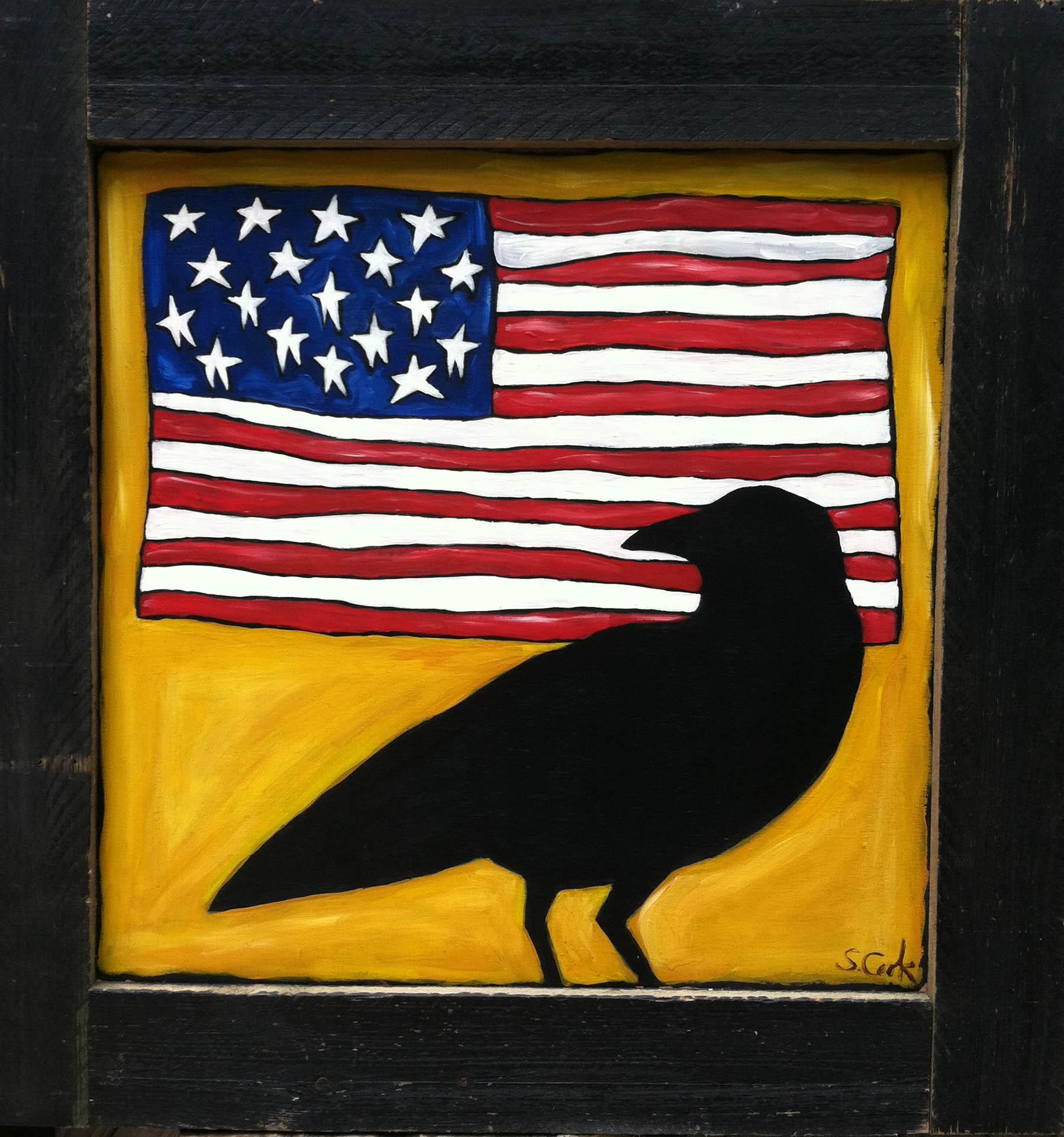 Flag and Crow 36x36