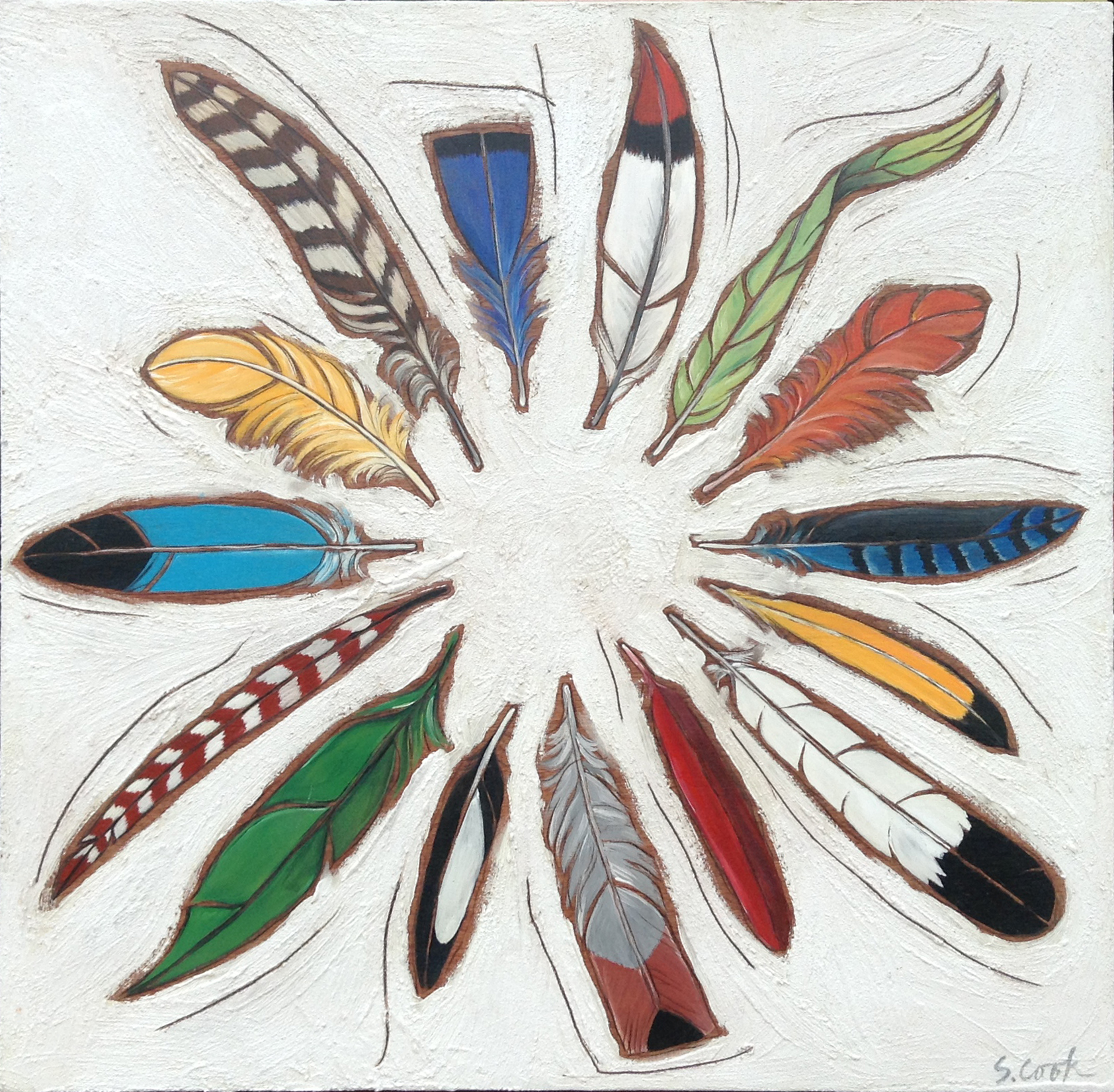 Wheel of Feathers 36x36