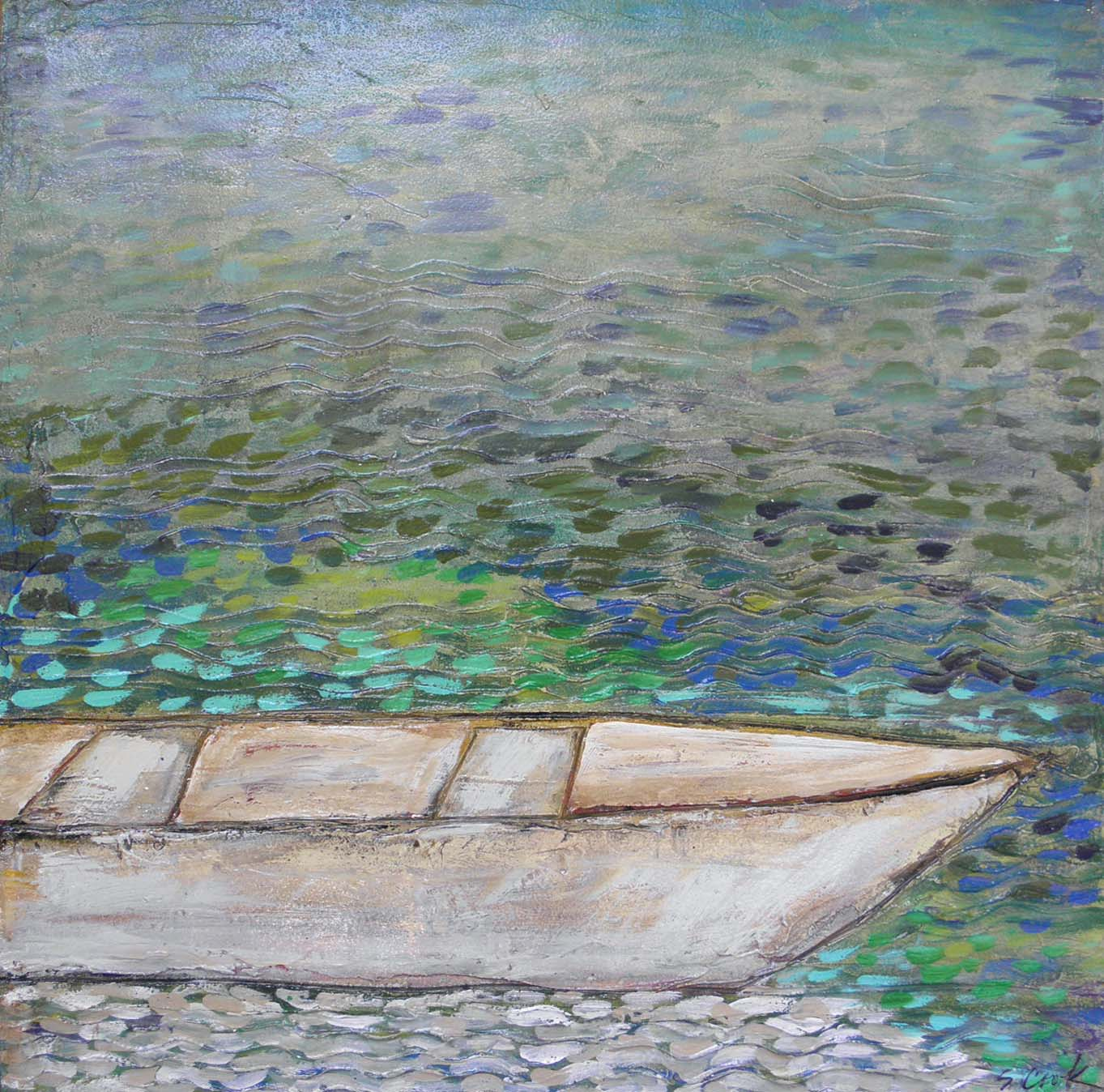 Boat on Shimmering Water 36x36