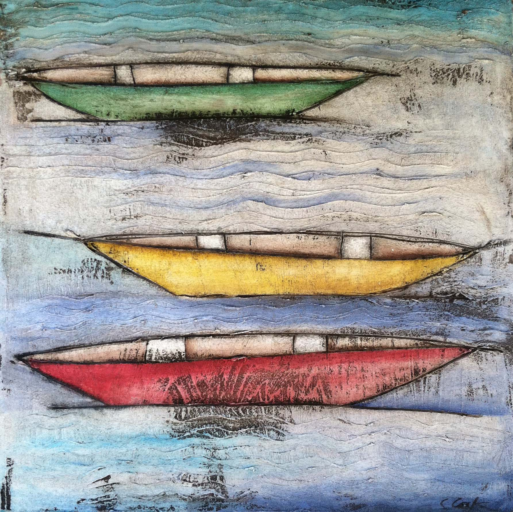 Three Color Boats Study 24x24