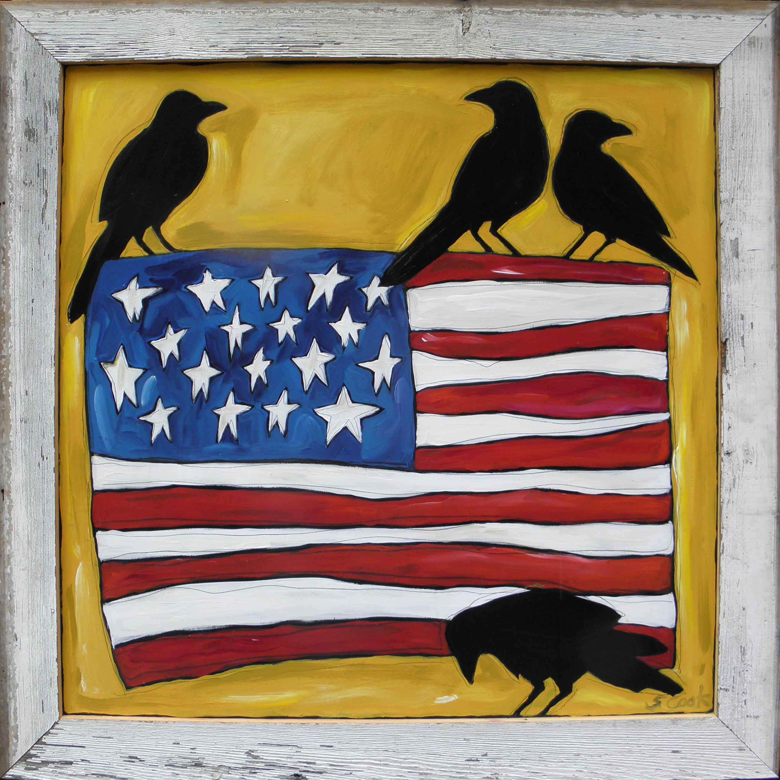 Big Flag with 4 Crows 48x48