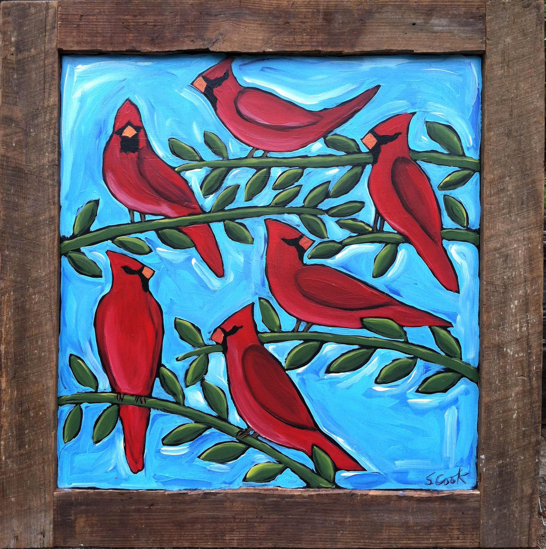 Six Cardinals on Blue 36x36