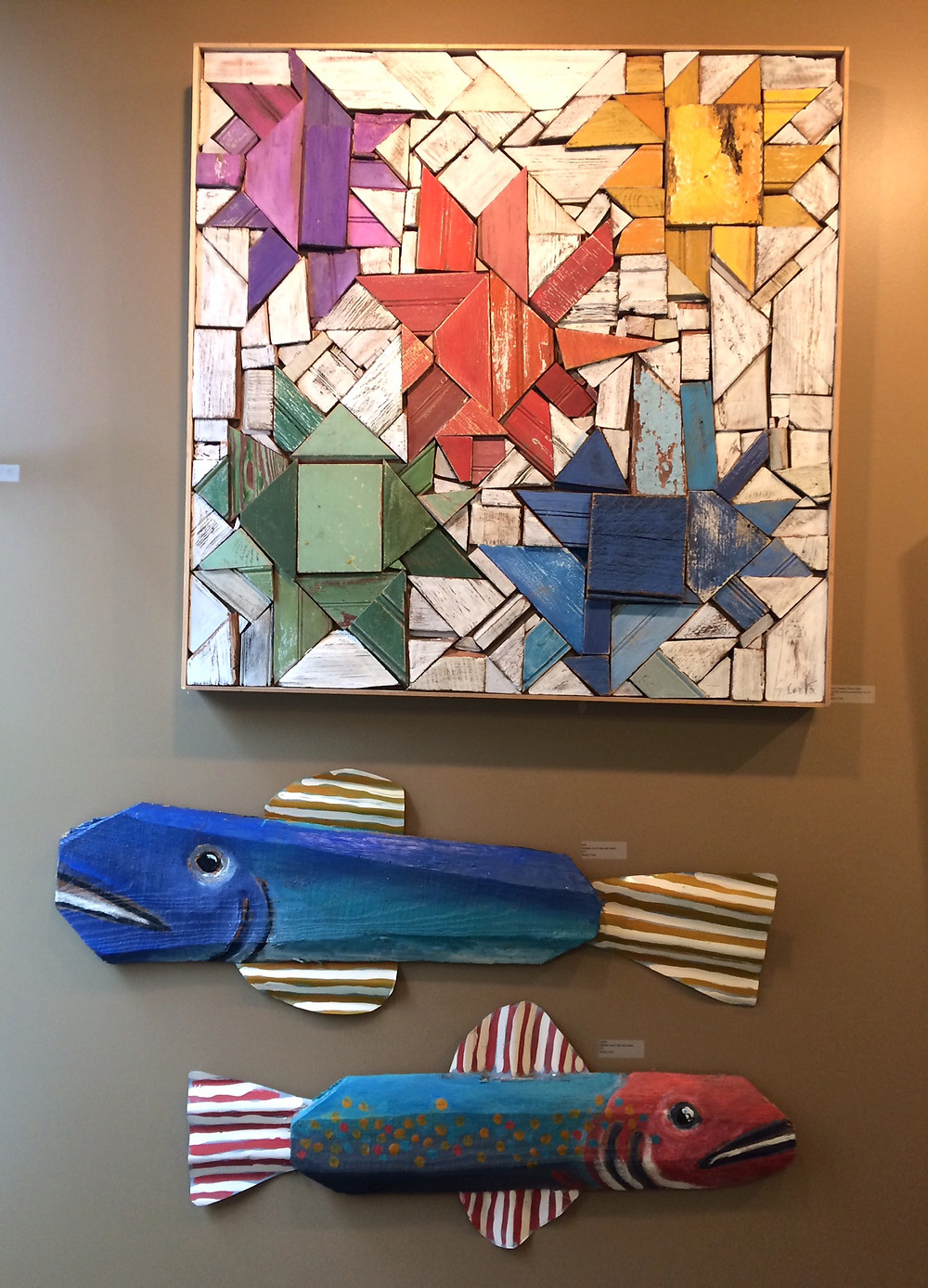 Wood 'Quilt' and salvaged wood folk art fish