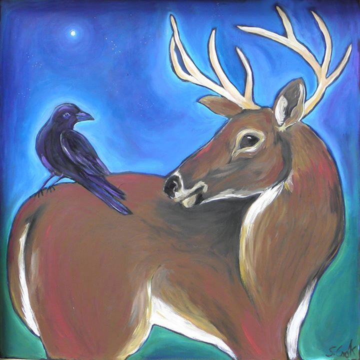 Deer with Crow 36x36
