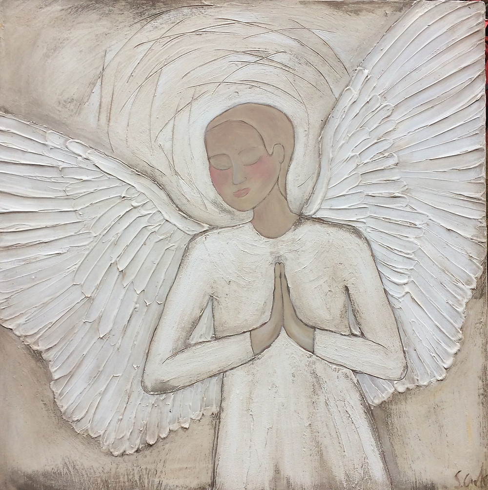 Adoration Angel 39x39 acrylic on wood